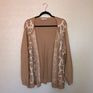 Isaac Mizrahi Giraffe Button Cardigan in 3X